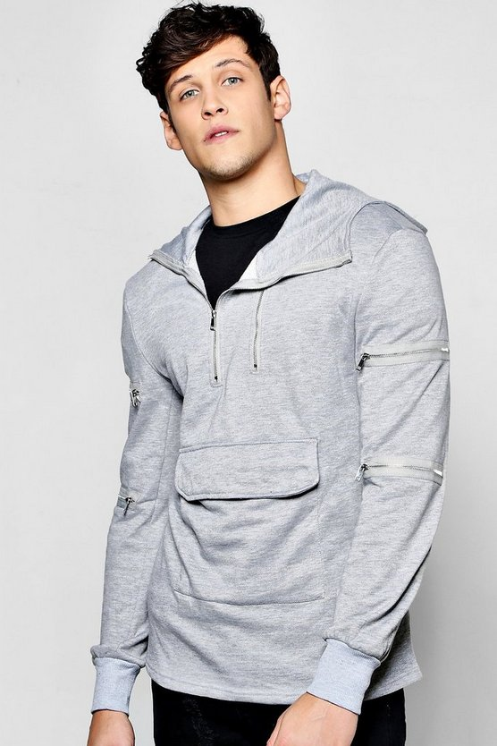 Zip Detail Hoodie With Front Pocket