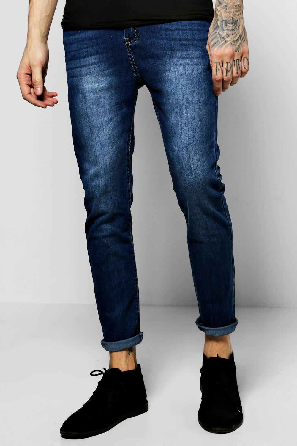 Skinny Fit Indigo Jeans with Blasting