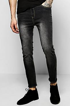 Skinny Fit Charcoal Jeans with Blasting