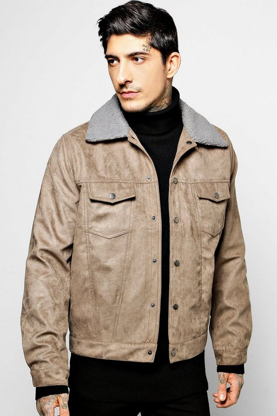 Suedette Trucker Jacket with Borg Collar