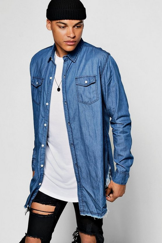 Longline Denim Shirt With Raw Hem Curved