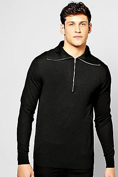 Roll Neck Jumper With Front Zip