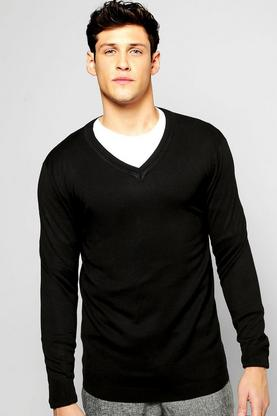 Fine Guage V Neck Jumper
