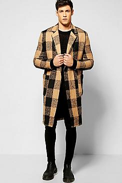 Check Wool Look Overcoat