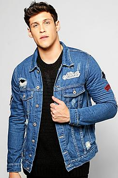 Distressed Denim Jacket With Badges