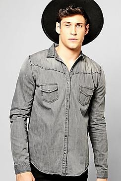 Skinny Fit Denim Shirt With Studs