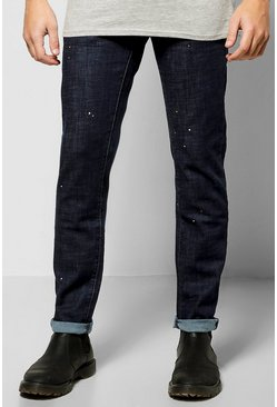 Slim Fit Paint Splatter Jeans
