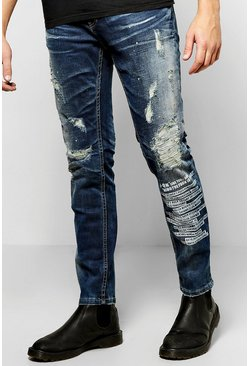Slim Fit Ripped Jeans With Print