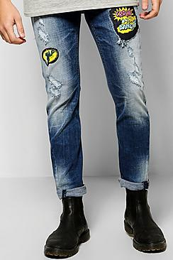 Slim Fit Patch Print Jeans