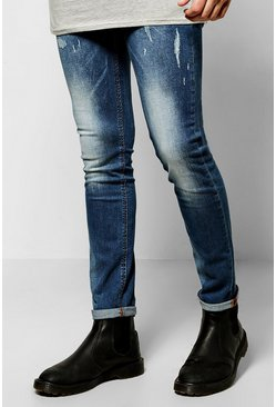 Slim Fit Mid Wash Distressed Detail Jeans