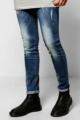 Mid Wash Jeans With Distressed Detail