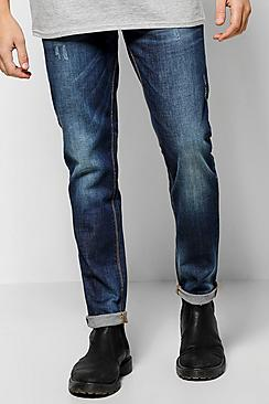 Slim Fit Mid Wash Jeans With Sand Blasting