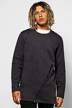Longline Sweater With Zip Panel