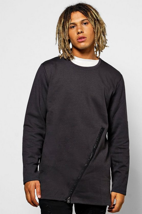 Longline Sweatshirt With Zip Panel