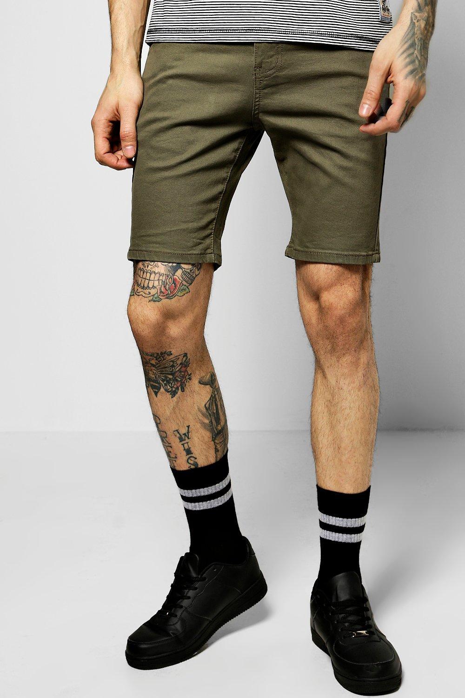 Stretch Denim Shorts  khaki