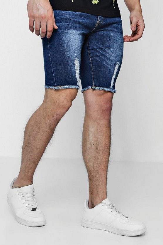 Skinny Fit Distressed Hem Denim Shorts