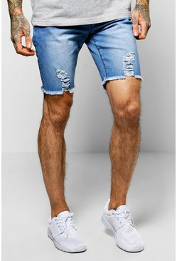 Skinny Stretch Biker Denim Shorts