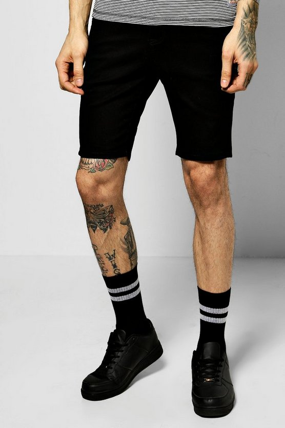 Black Stretch Skinny Fit Ripped Hem Shorts