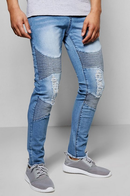 Super Skinny Stretch Destroyed Biker Jean