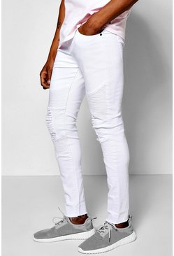 Super Skinny Stretch Destoyed Biker Jean