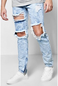 Skinny Fit Rigid Acid Wash Ripped Jeans