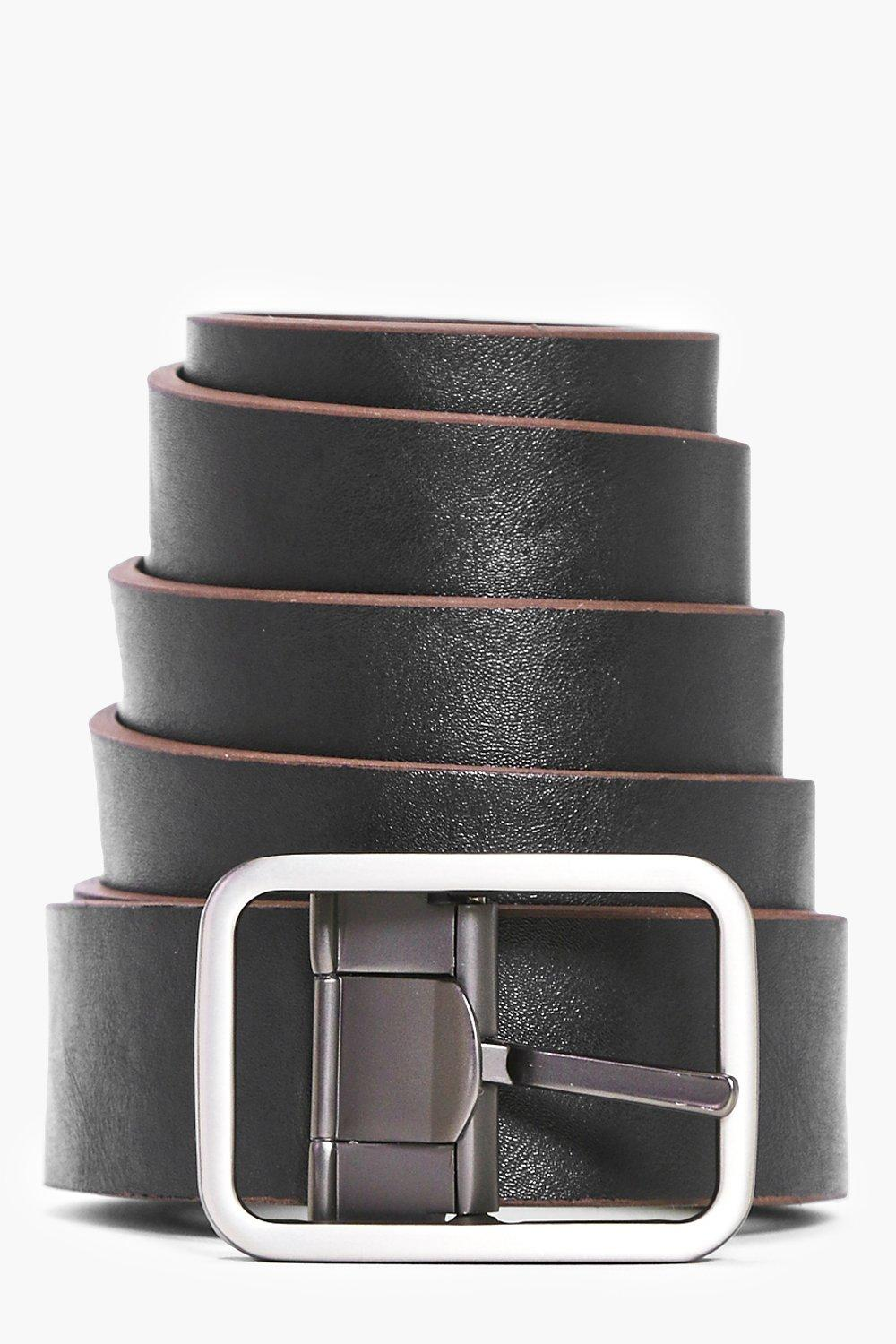Reversible Belt With Matte Metal Buckle - black -