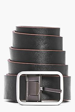PU Reversible Belt With Matte Metal Buckle