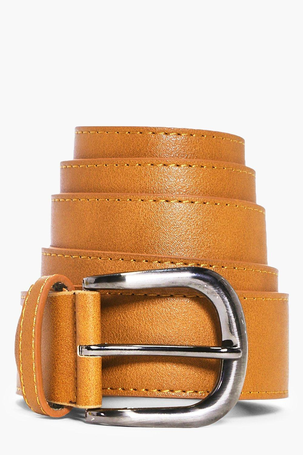 Leather Belt With Metal Buckle - tan - Faux Leathe