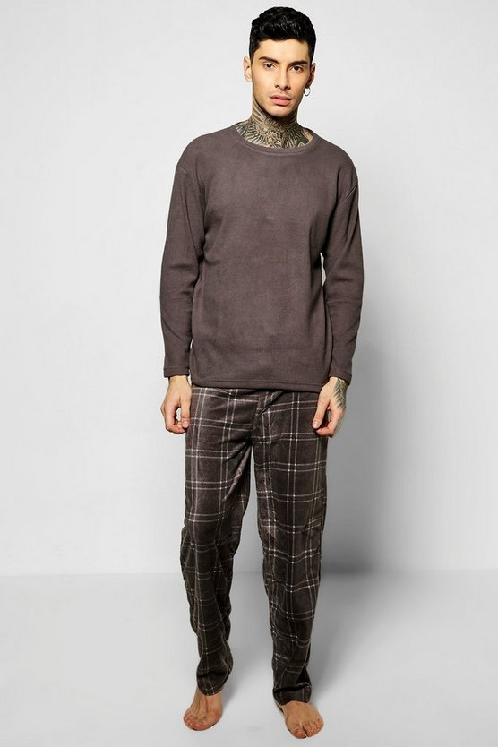 Long Sleeve Check Bottom Pyjama Set