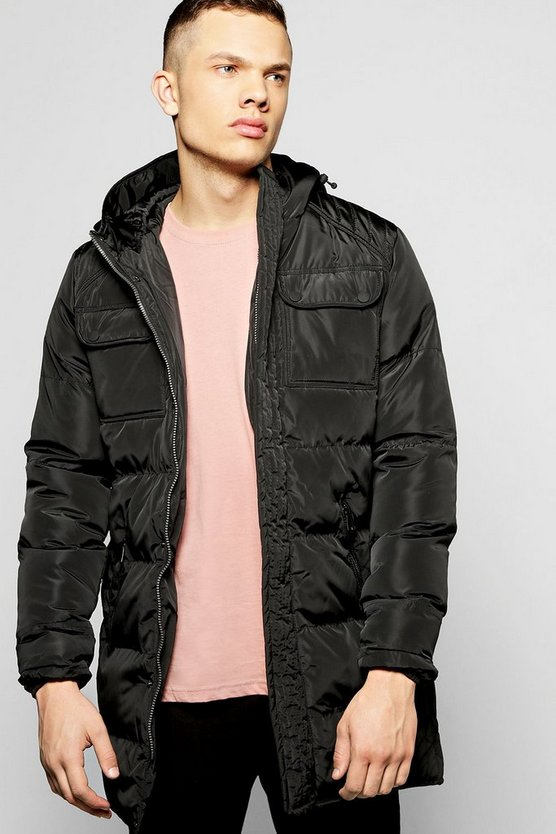 Hooded Longline Padded Jacket