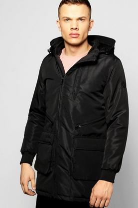 Padded Parka with Multi Zip Detail