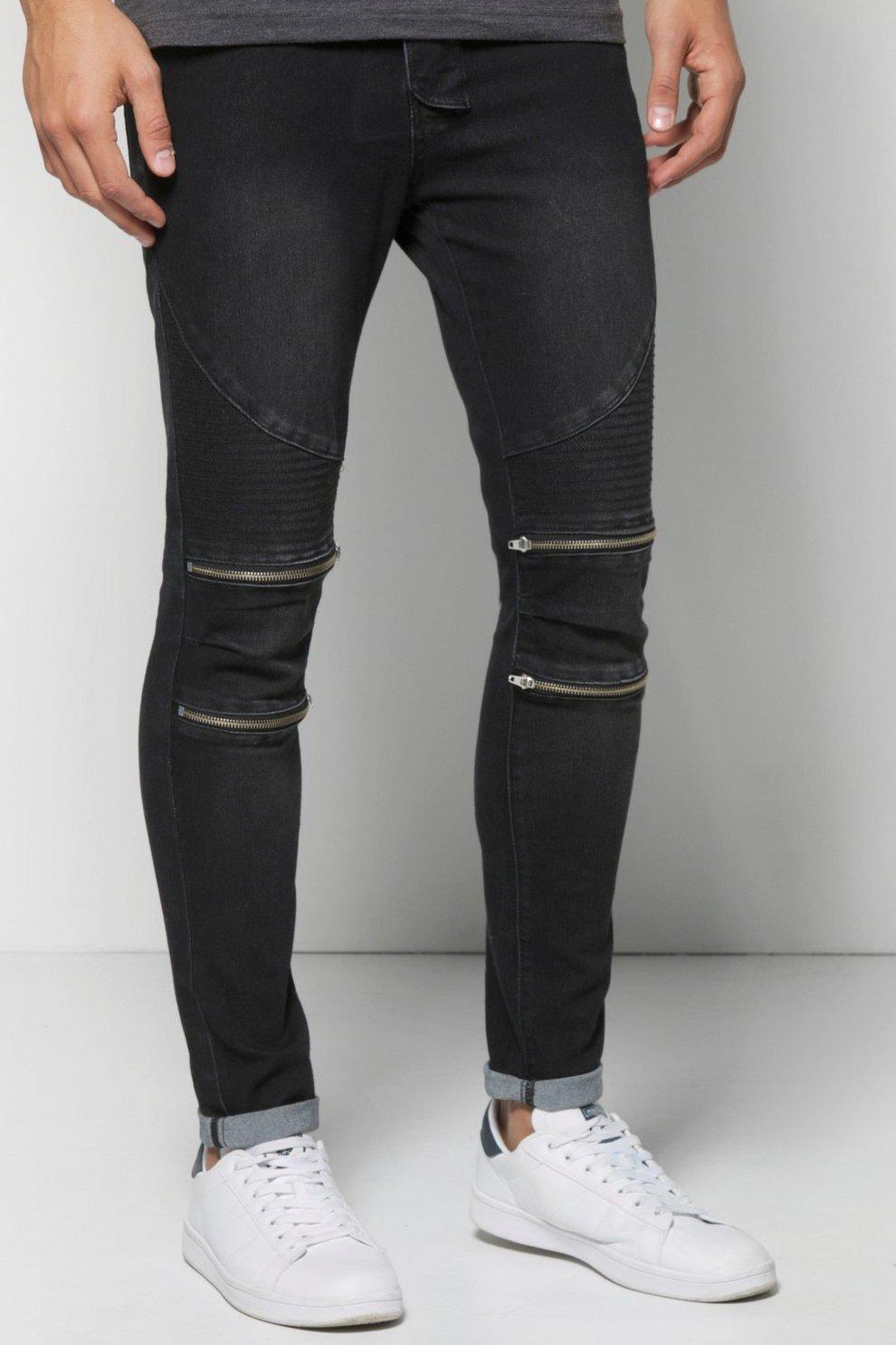 Skinny Fit Zip Knee Biker Jeans