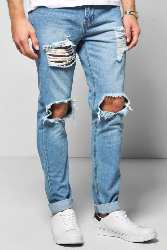 Skinny Fit Vintage Wash Rigid Jeans