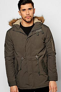 Faux Fur Hooded Parka With Borg Lined Hood