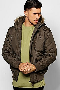 Faux Fur Hooded Multi Pocket Parka