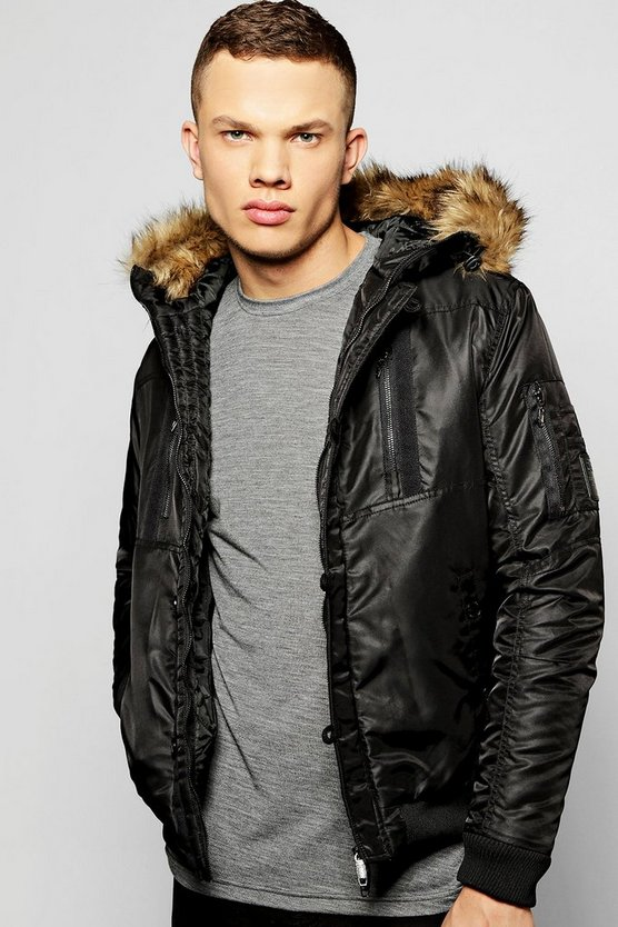 Multi Zip Faux Fur Hooded Parka