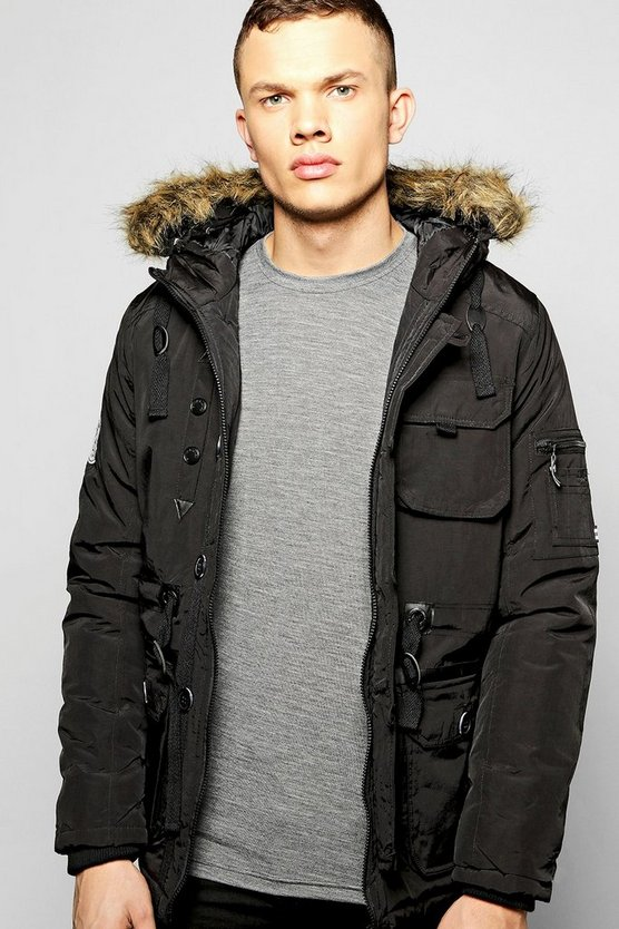 Faux Fur Hooded Parka With MA1 Sleeve