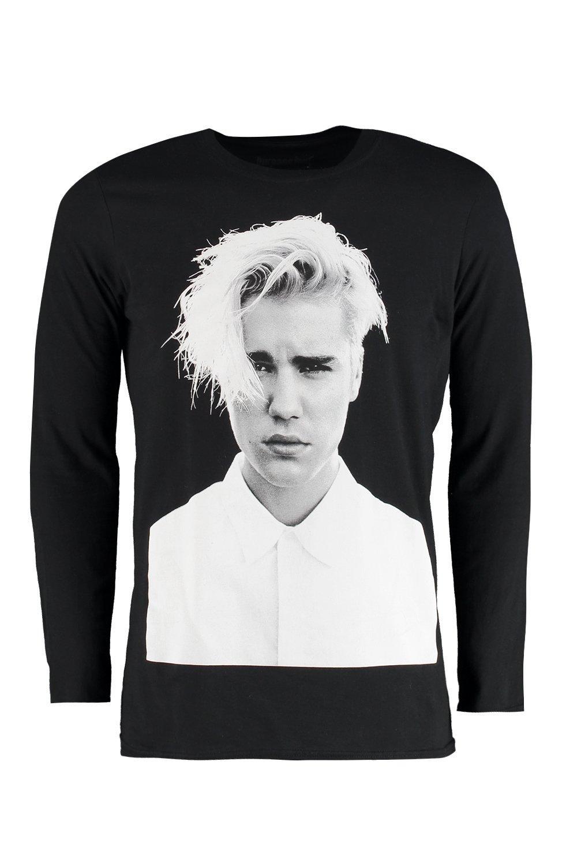 Boohoo mens justin bieber purpose tour long sleeve t shirt for Justin bieber black and white shirt