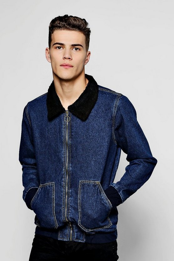 Borg Collar Denim Flight Jacket