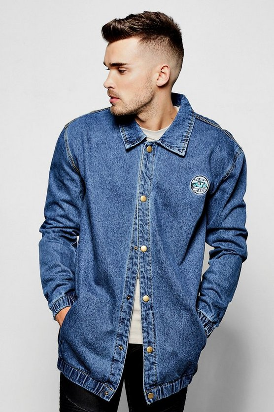 Denim Coach Jacket With Popper Front