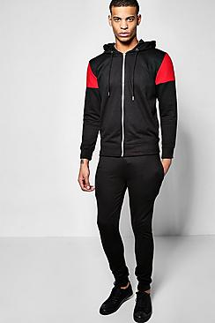 Contrast Panel Tracksuit With Zip Detail
