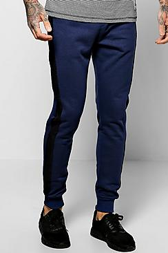 Skinny Fit Jogger With Velour Stripe