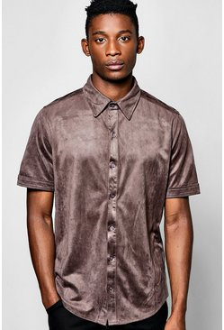 Short Sleeve Faux Suede Shirt