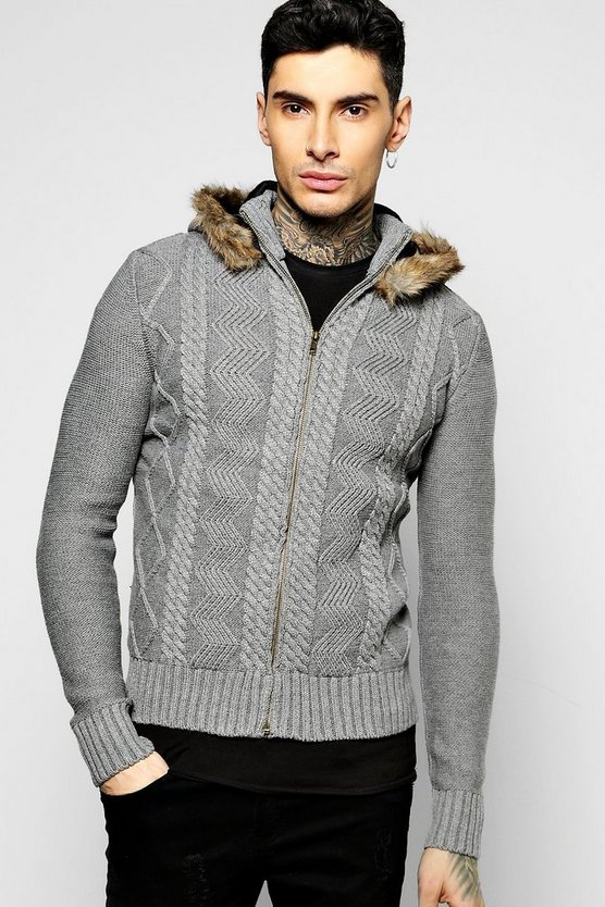 Cable Knit Zip Through Hoodie With Hood