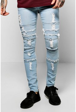Skinny Fit Multi Panelled Washed Jeans