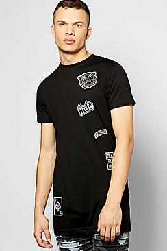 Longline Zip T Shirt With Badges