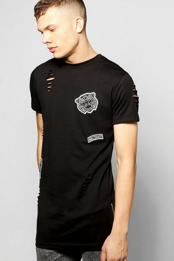 Destroyed Longline T Shirt With Badges