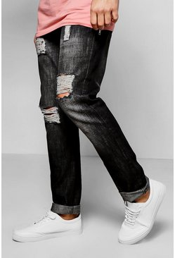Slim Fit Rigid Destoyed Black Jeans