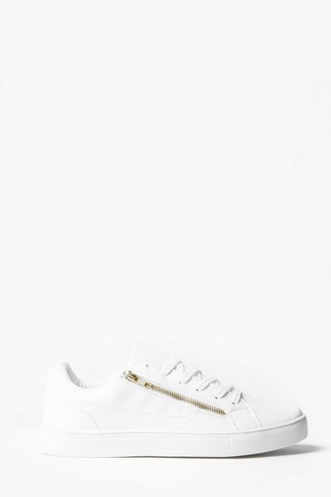 White Faux Leather Gold Zip Trainer
