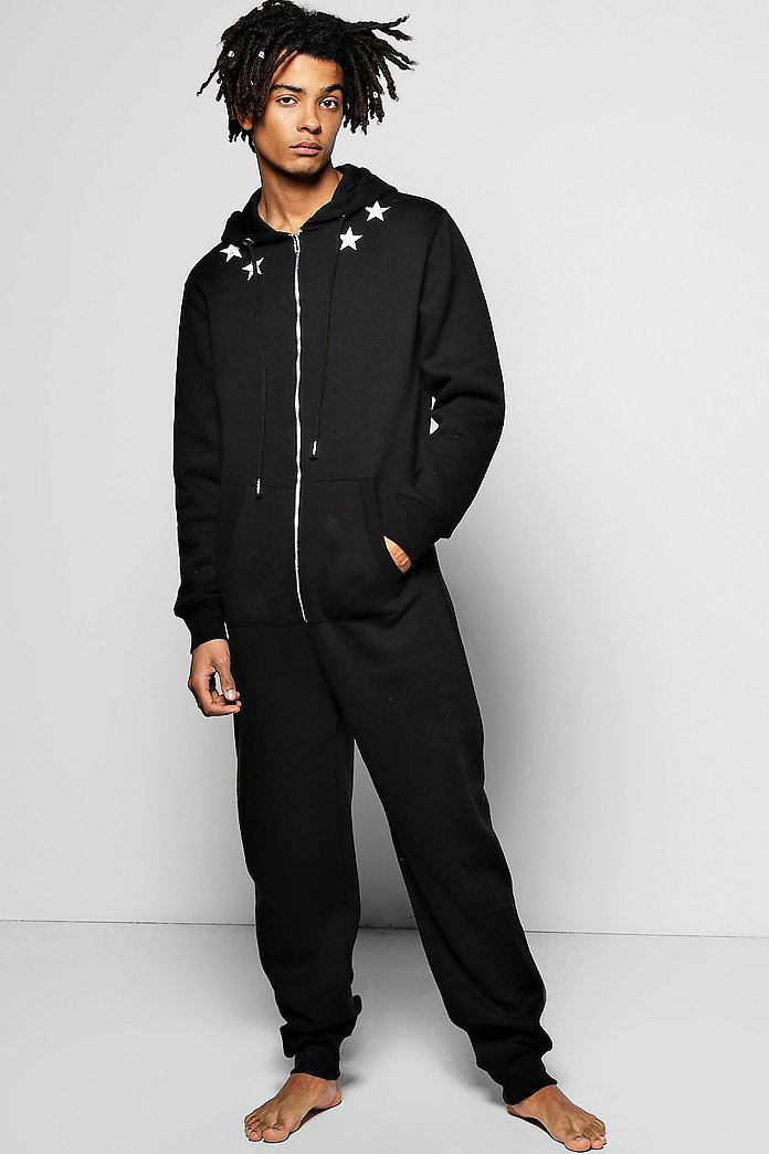 Embroidered Star Hooded Onesie